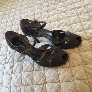 Antonio Melani Brown Suede and Snakeskin Heels